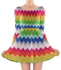 multicolor chevron rainbow longsleeve skater dress