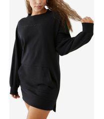 women's terry crewneck sweatshirt dress