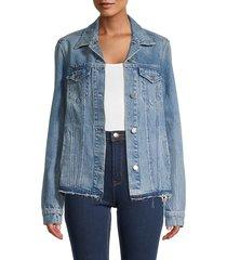 rta women's harmony distressed denim jacket - blue - size xs
