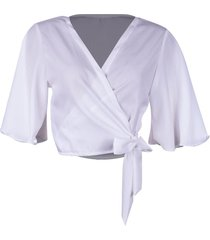blusa kimono linda d+ floral branco