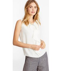 blusa ruffled crepe blanco brooks brothers