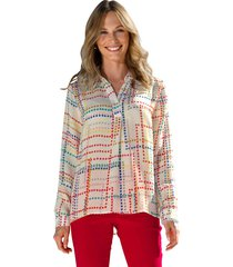 blouse amy vermont ecru::pink::rood::geel::blauw::groen