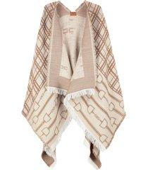 elisabetta franchi jacquard wool cape