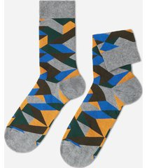 calzedonia classic patterned ankle socks man grey size tu