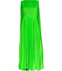 green pleated cape dress