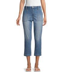 joe's jeans women's straight cropped utility jeans - blue - size 25 (2)