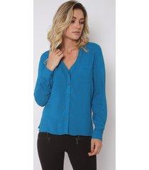 camisa feminina the style box manga longa decote v - azul azul - kanui