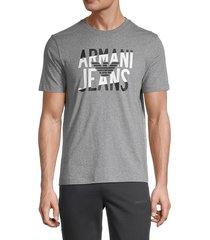armani jeans men's heathered logo graphic t-shirt - grey - size xl