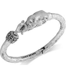 lucky brand bracelet, silver-tone elephant cuff bracelet