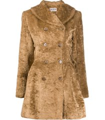 alaïa pre-owned fur effect double-breasted coat - brown