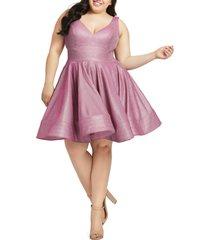 plus size women's mac duggal sleeveless sparkle metallic fit & flare dress, size 14w - pink
