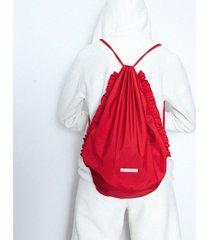 plecak czerwony z falbankami