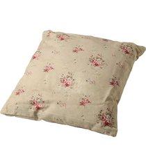 almofada de algodão floral bege com enchimento