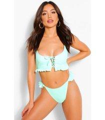 bikini top met veters en franjes, muntgroen