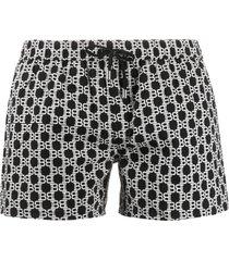 balmain all-over bb print swim shorts - black