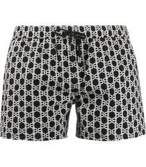 balmain all-over bb print swim shorts - black