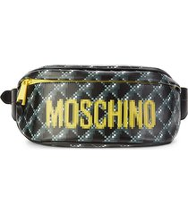 moschino women's logo leather waist bag - black