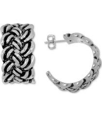 essentials small antique-look braided hoop earrings in fine silver-plate, 0.79""