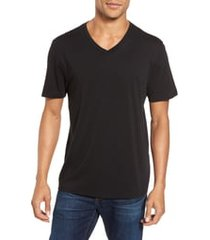 men's vince pima cotton slim fit v-neck t-shirt, size xx-large - black