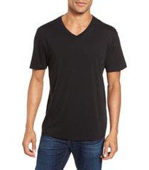 men's vince pima cotton slim fit v-neck t-shirt, size x-large - black