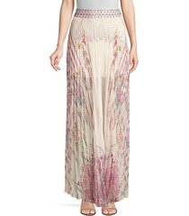 la fleur libertine pleated silk skirt