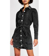 river island womens black puff sleeve denim shirt mini dress