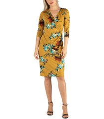 24seven comfort apparel women's three quarter sleeve knee length wrap dress