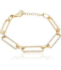 gabi rielle women's 14k gold vermeil & cubic zirconia pavé link bracelet