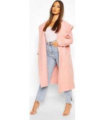 extreme oversized hooded wool look coat, blush