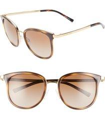 women's michael kors 54mm round sunglasses - dark tortoise/ gold/ brown