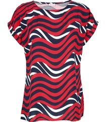 blouse alba moda marine/rood/offwhite