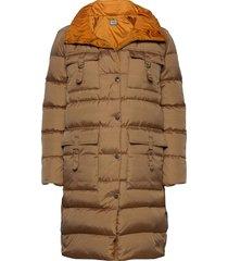 ambra coat gevoerde lange jas beige andiata