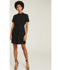 reiss jenny - tweed mini dress in black, womens, size 14