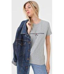 camiseta tommy hilfiger logo cinza - cinza - feminino - algodã£o - dafiti