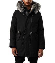 men's mackage moritz water repellent military parka with genuine rabbit fur and genuine fox fur trim, size 40 - black