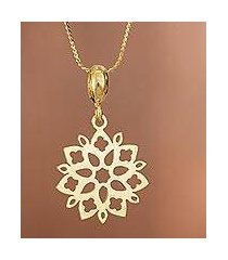 gold plated sterling silver pendant necklace, 'snowflake flower' (peru)