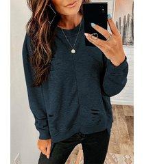 suéter casual de cuello redondo con detalles rasgados al azar