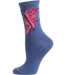 women's bandana in pocket bamboo blend crew socks