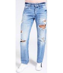 denimowe spodnie z przetarciami fason regular
