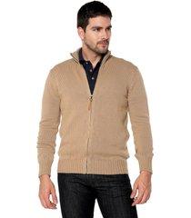 sweater camel 19 preppy m/l c/alto abierto cremallera tej medio