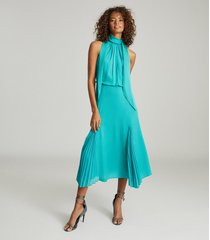 reiss jenna - neck-tie detail midi dress in teal, womens, size 14