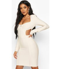 zip front cup detail bandage dress, champagne