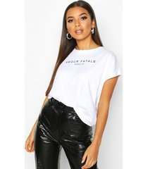 amour fatale french slogan t-shirt, white