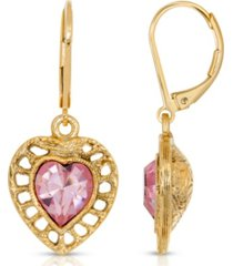 2028 14k gold dipped swarovski crystal heart drop earrings