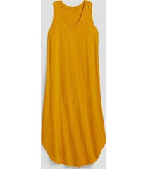 vestido cuello v amarillo gap