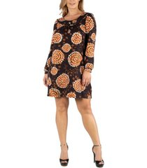 24seven comfort apparel long sleeve orange print plus size shift dress