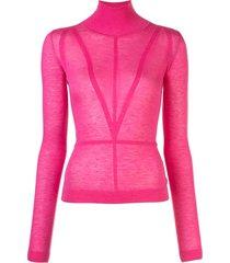 altuzarra turtle neck fine knit top - pink