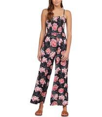 roxy juniors' straight to romantic floral-print jumpsuit