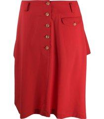 comme des garçons homme plus wool knee-length skirt - red