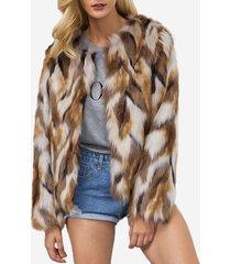 cappotto corto in pelliccia sintetica a maniche lunghe girocollo